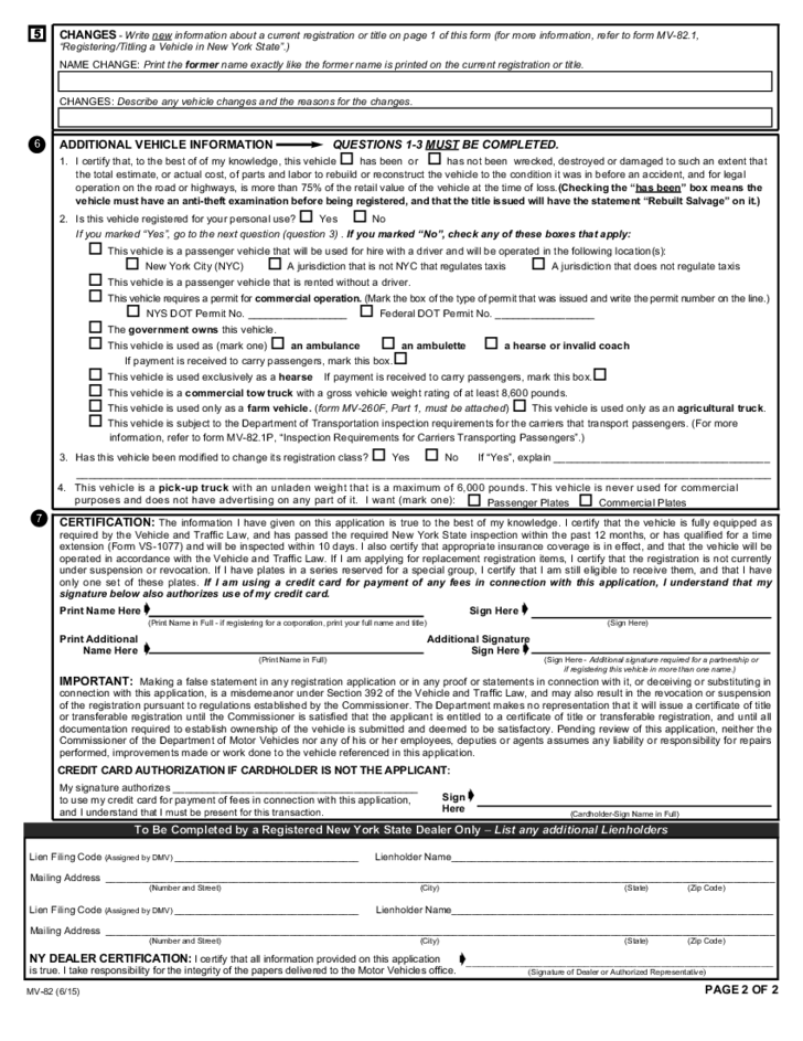 Ny Dmv Registration Form >> Vehicle Registration/Title Application - New York Free Download