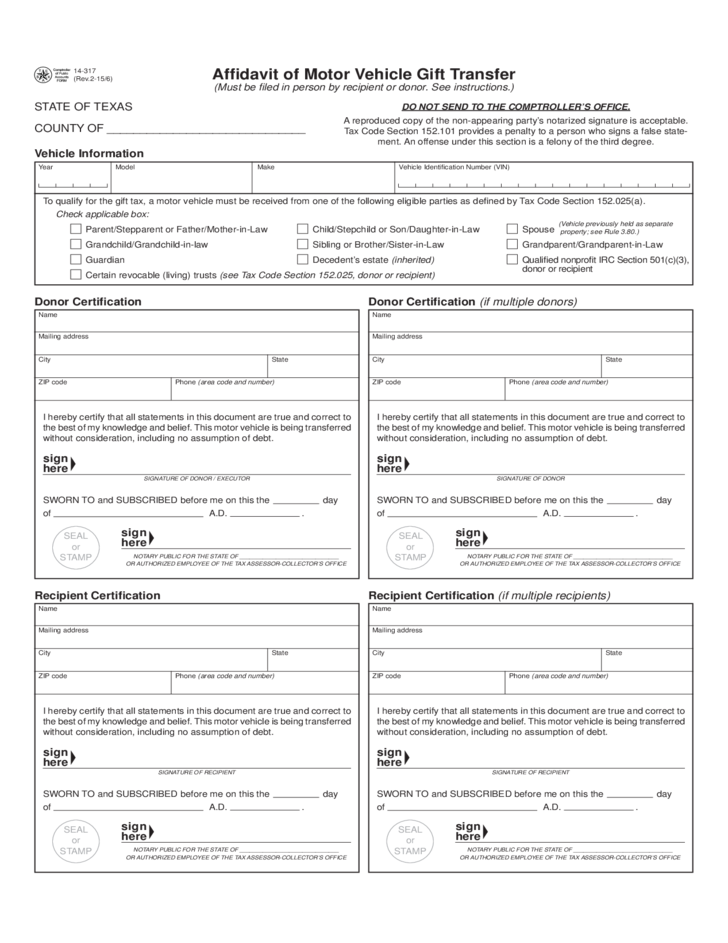 affidavit of motor vehicle gift transfer texas free download