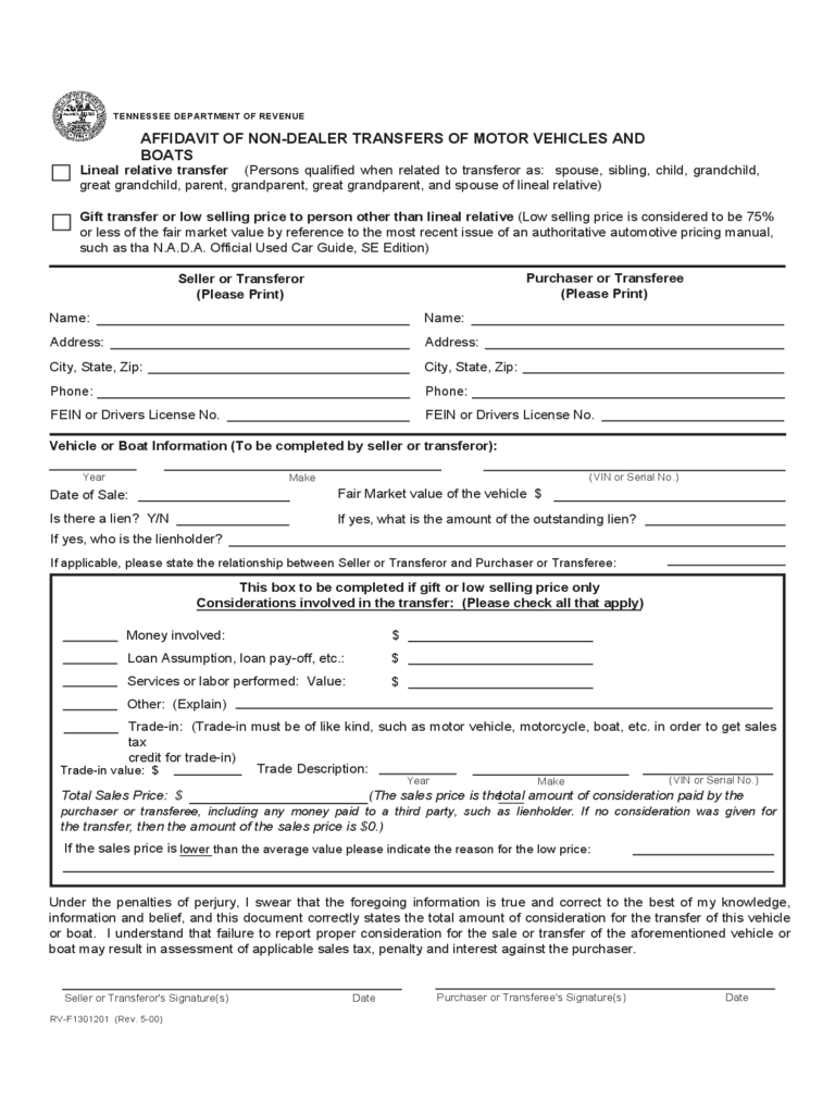 Vehicle transfer notification fill online printable for Tennessee motor vehicle bill of sale