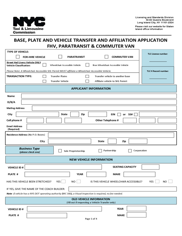 Ny Dmv Registration Form >> Application for a Transfer and/or Affiliation - New York City Free Download