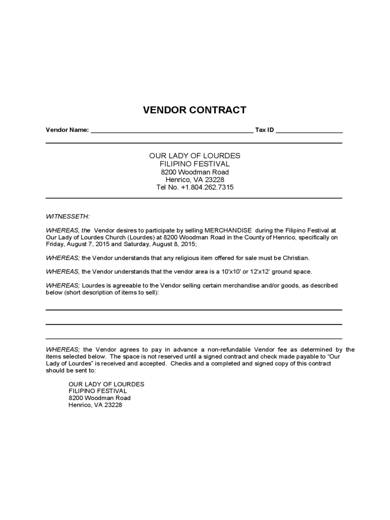 Doc548785 Vendor Contract Template Vendor Contract Template – Food Vendor Contract