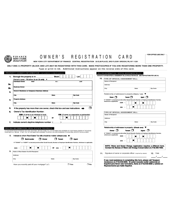 form of owner u0026 39 s registration card free download
