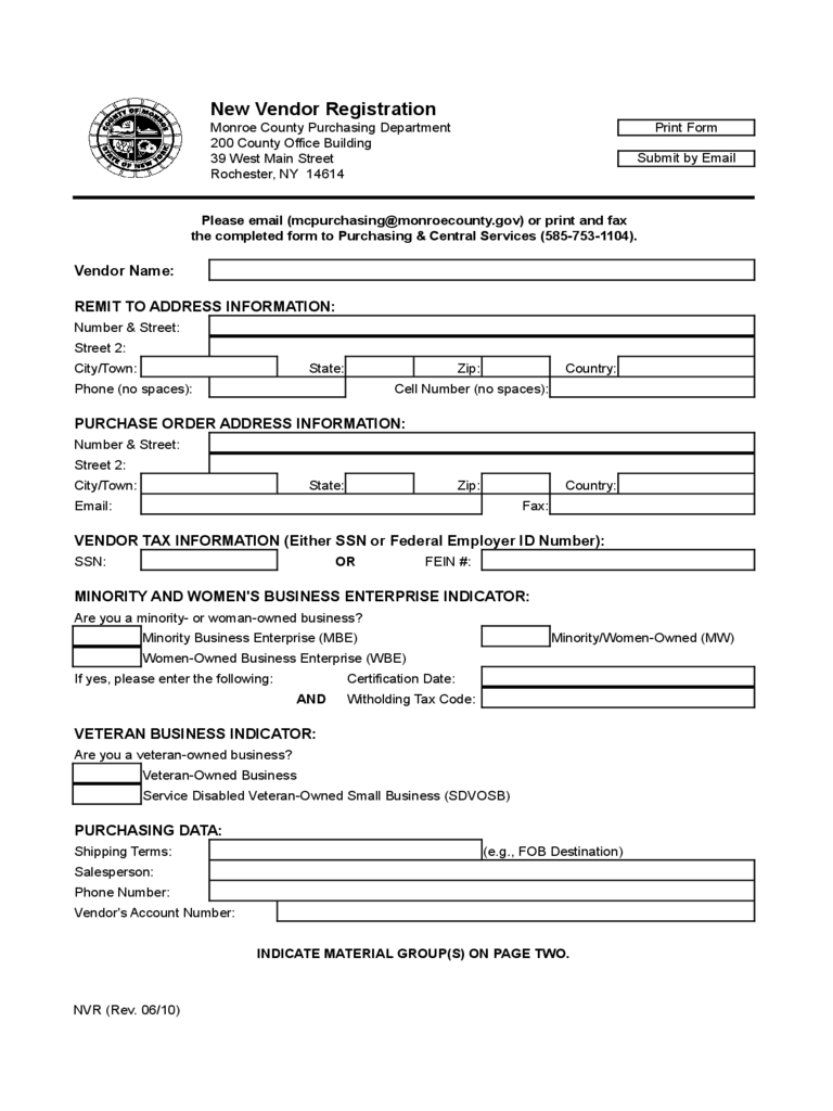 new-vendor-registration-monroe-d1 Vendor Application Form Examples on swgc online, chinese visa, student year, social security, formal job, credit card, passport renewal, teaching job, blank job,