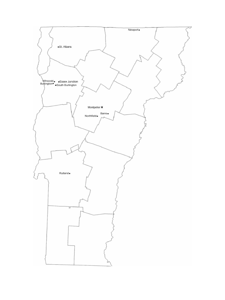 Map of Vermont Cities with City Names