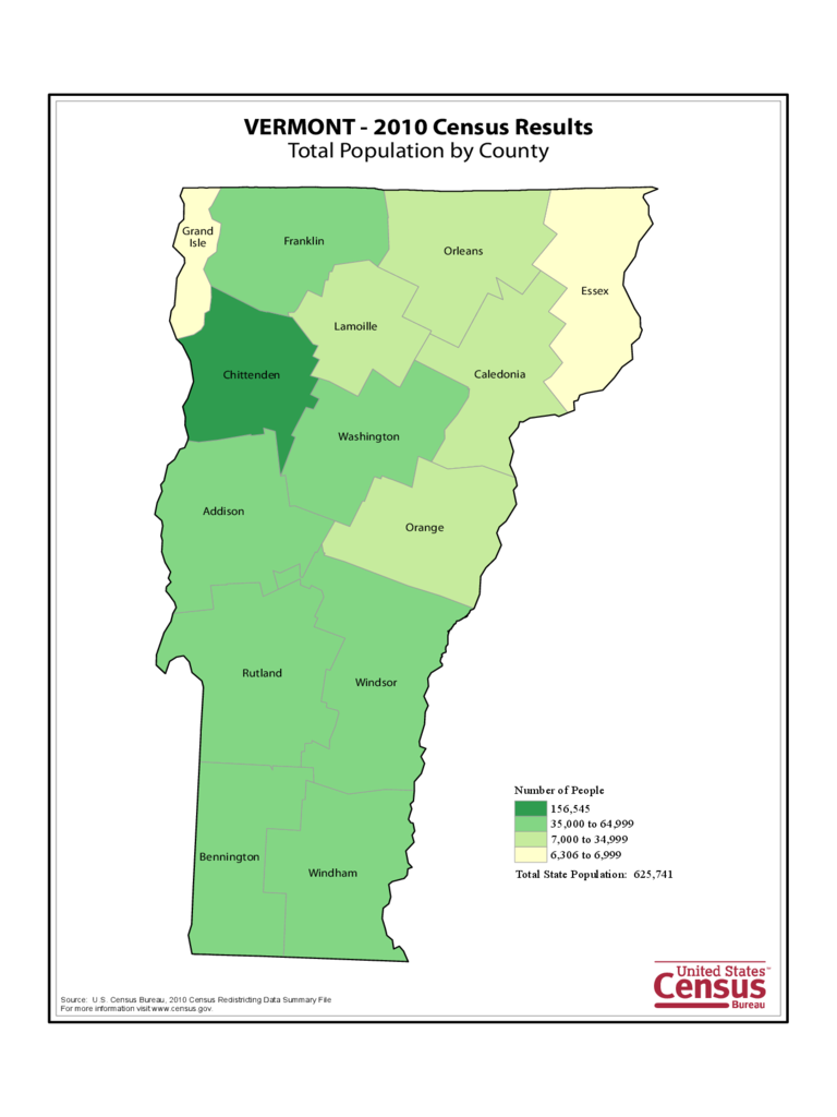 Vermont County Population Map