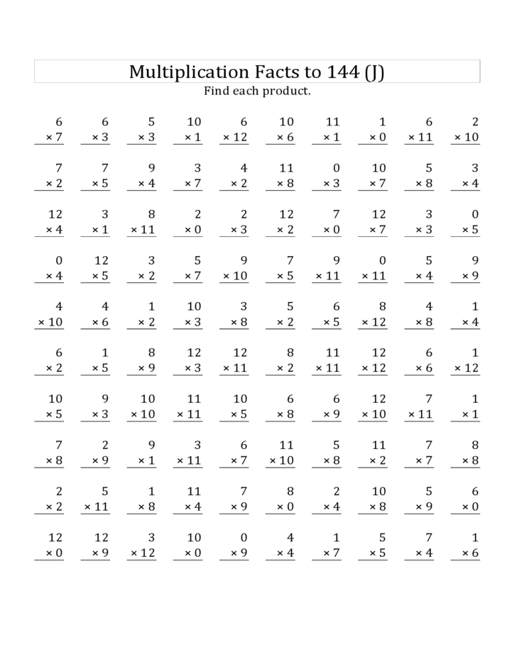 Free Multiplication Facts Worksheets 0 12 - worksheet on 0 times table ...