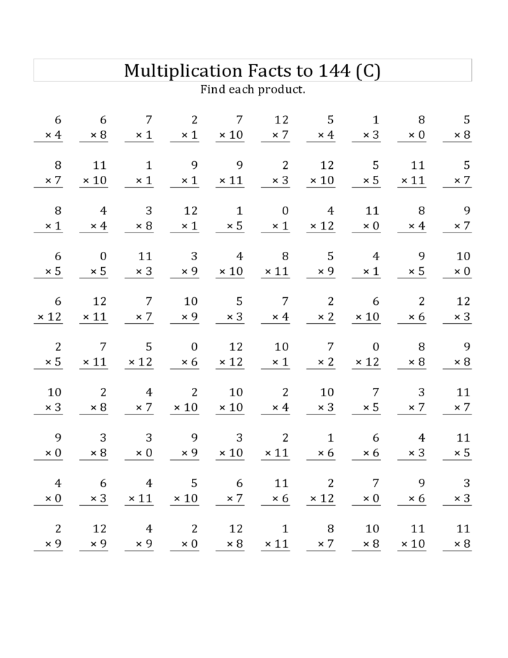 Multiplication Worksheets 100 Problems Timed Tests – 100 Multiplication Facts Worksheets