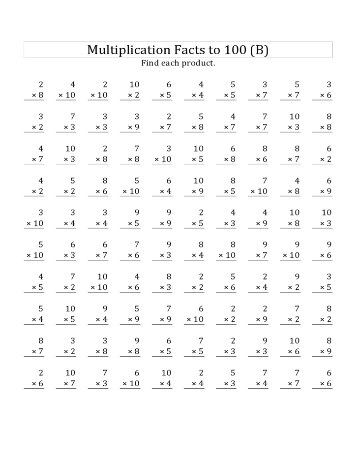 math worksheet : multiplication facts to 100 no 0 s or 1 s all free ...