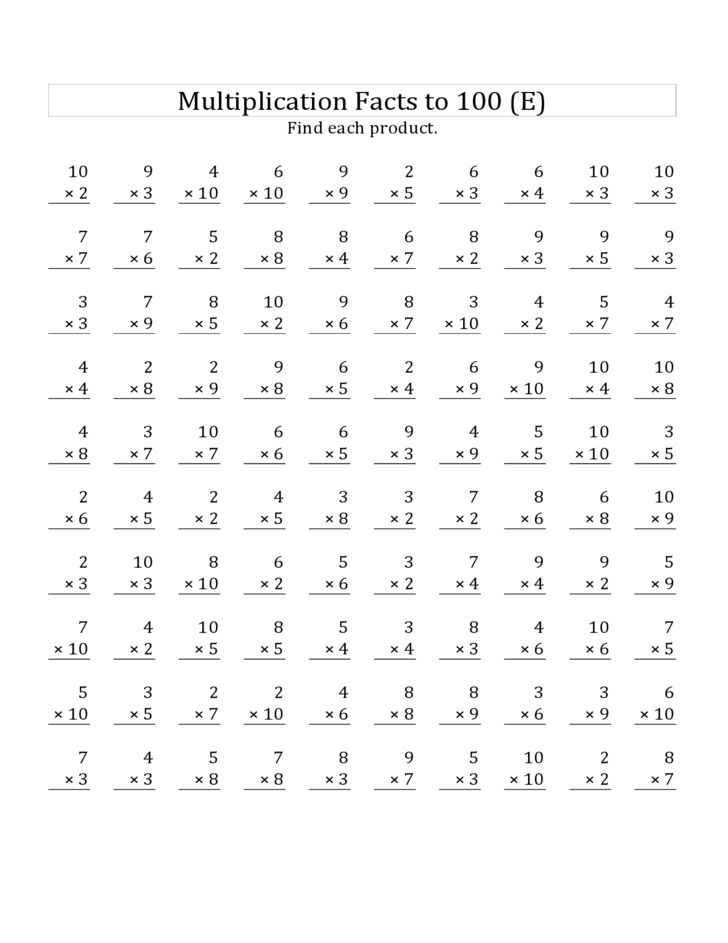 math worksheet : 100 multiplication facts worksheet 0 9  multiplication by 7 8 9  : 100 Addition Facts Worksheet