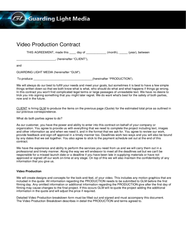 Video Production Contract - 6 Free Templates in PDF, Word, Excel ...