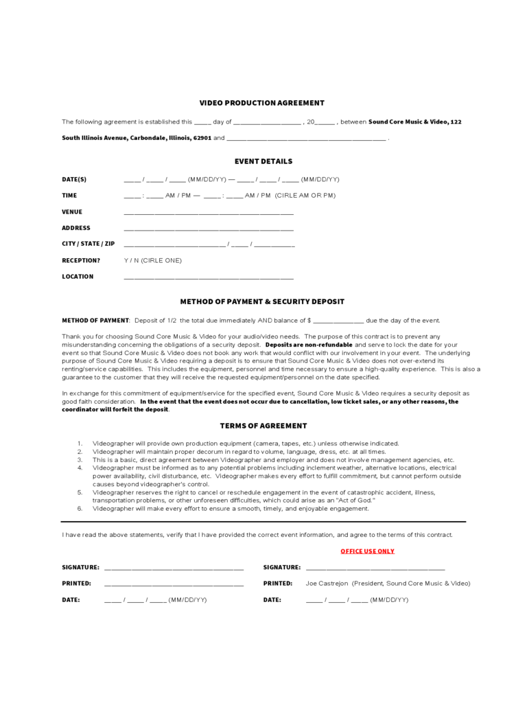 Video Production Agreement Form  Basic Contract Outline