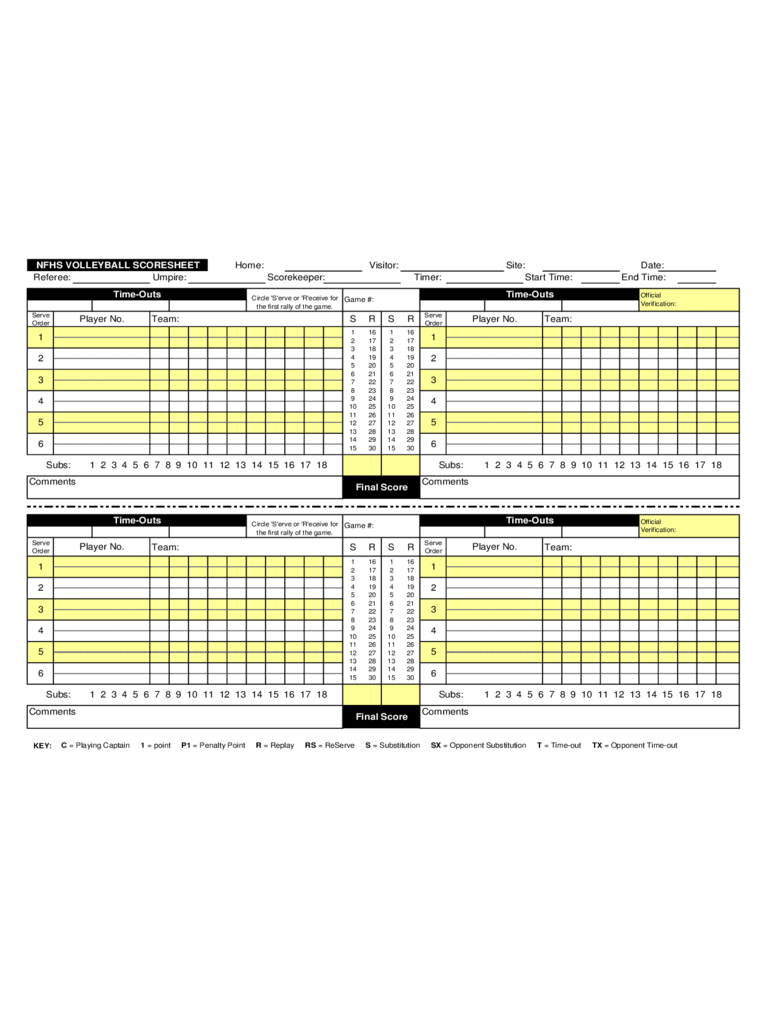 Volleyball Score Sheet 7 Free Templates In Pdf Word Excel Download