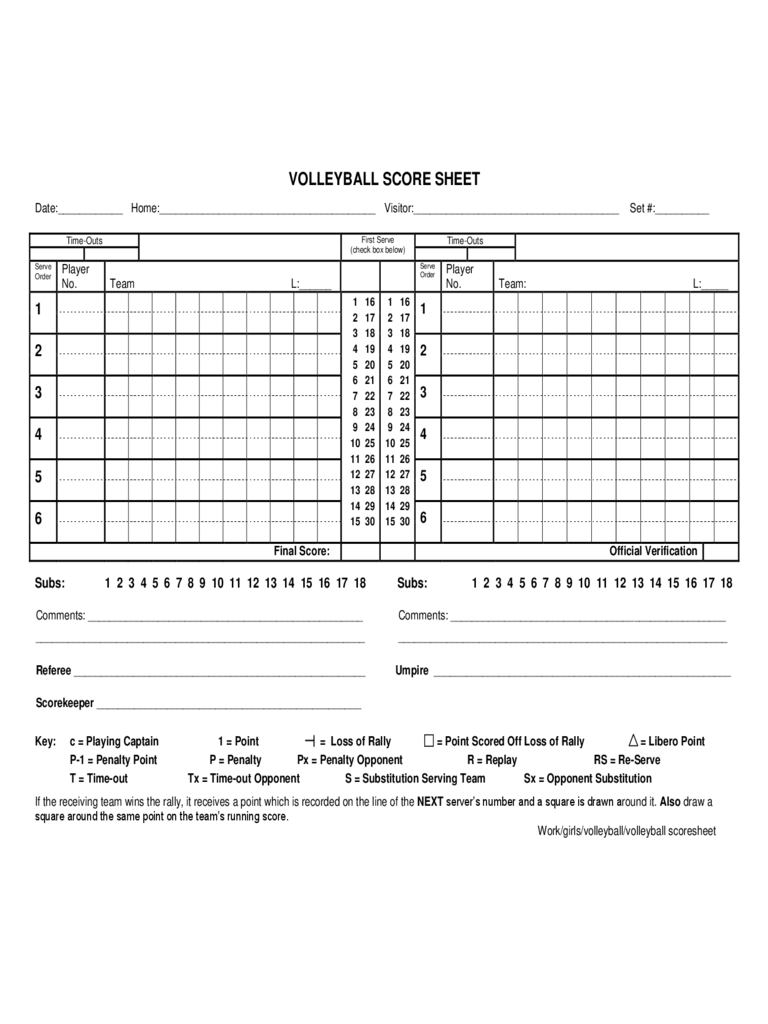 Volleyball Score Sheet Example