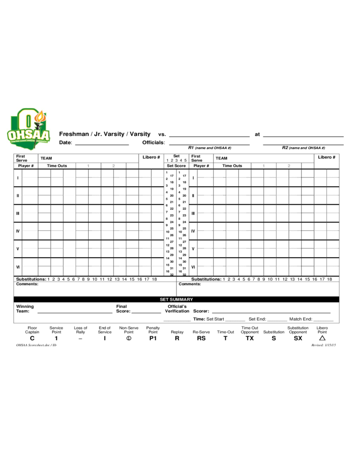 Sample Volleyball Score Sheets