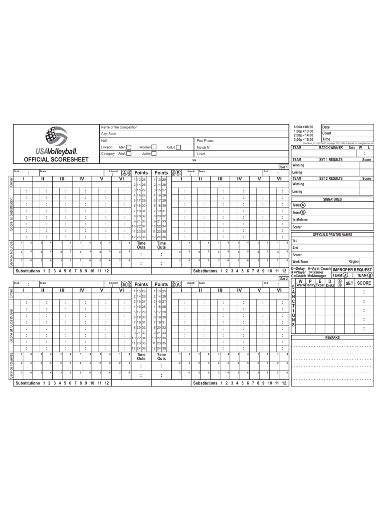 Volleyball Score Sheet 7 Free Templates in PDF Word Excel Download – Volleyball Score Sheet Template