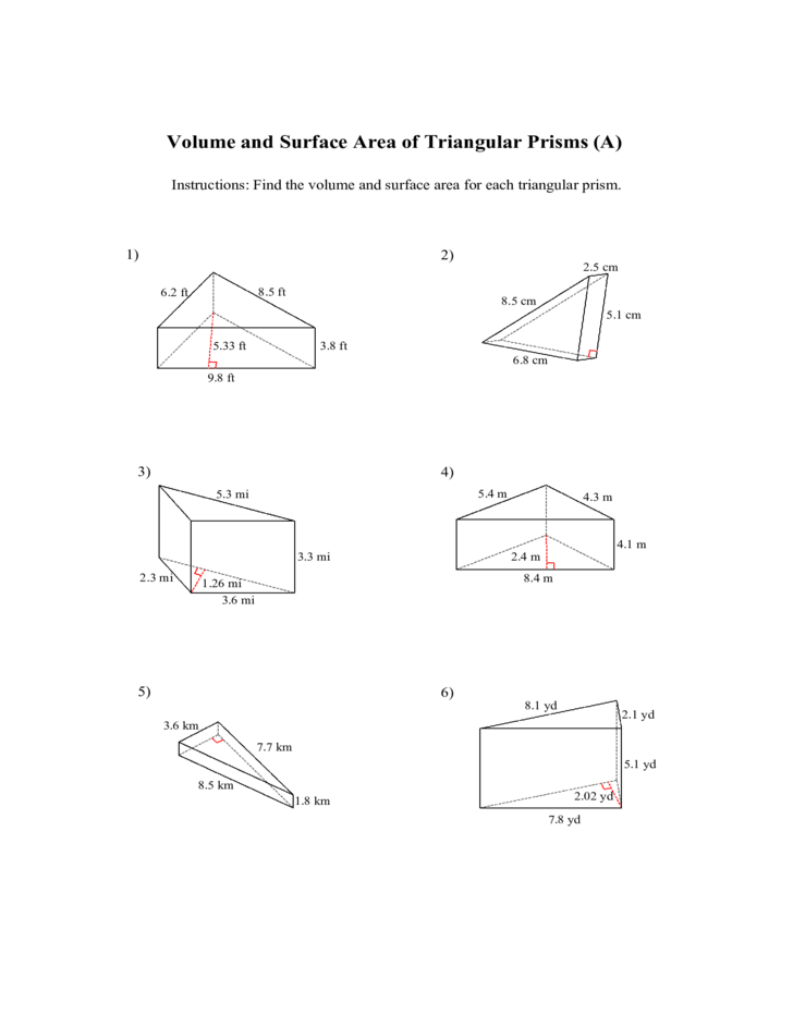 Printables Volume And Surface Area Of Triangular Prisms (c) Measurement Worksheet triangular prisms volume and surface area all free download 1 all