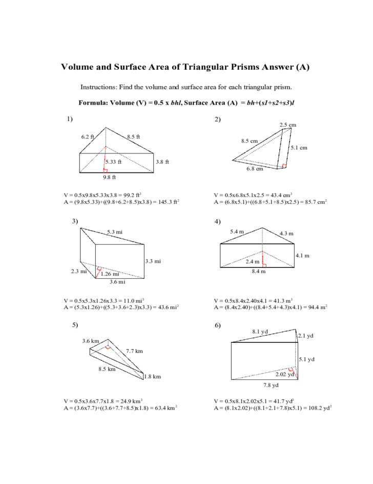 Worksheets Volume And Surface Area Of Triangular Prisms (c) Measurement Worksheet triangular prisms volume and surface area all free download 2 all