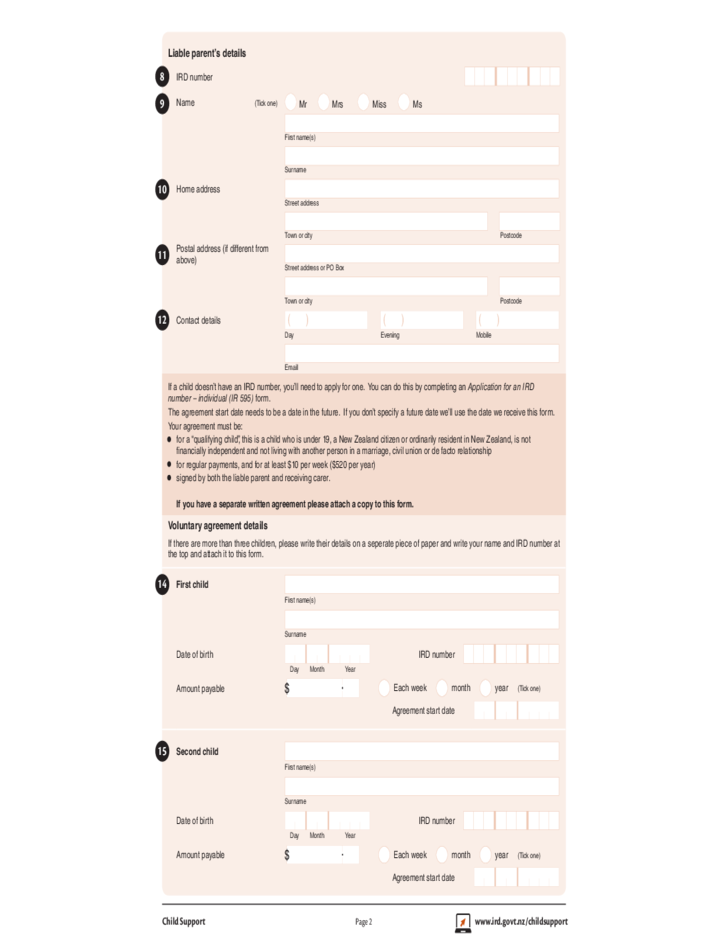 Registration Of Voluntary Agreement For Child Support Form