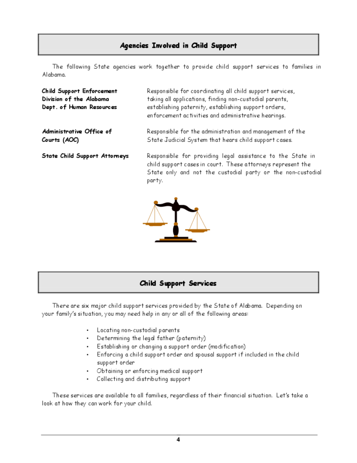 Child Support A Guide To Services In Alabama Free Download