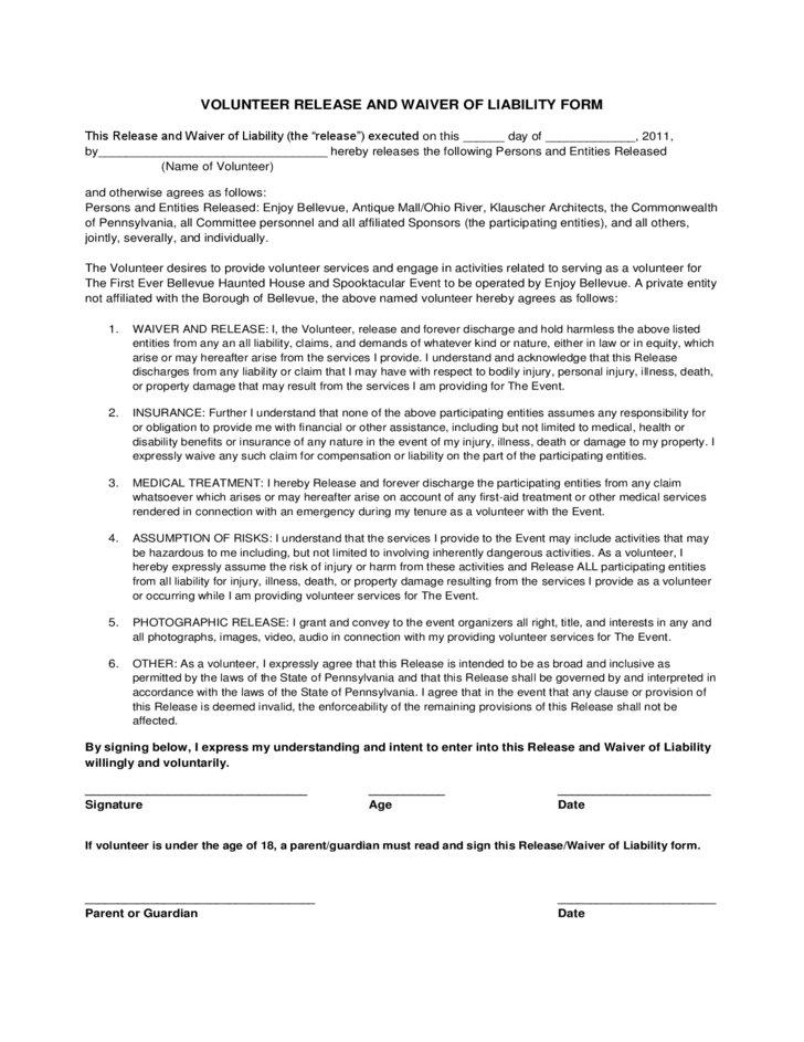 volunteer waiver and release of liability sample form free
