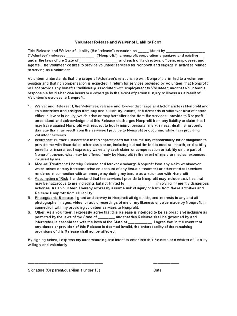 volunteer waiver and release form