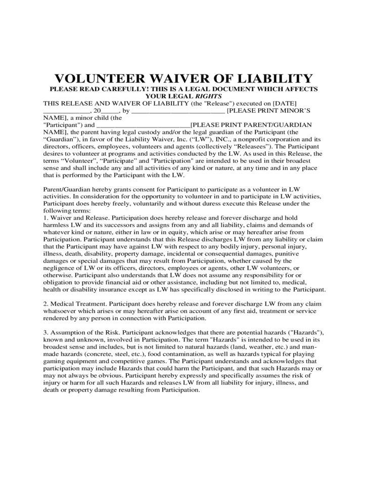 1 Volunteer Waiver Of Liability Form Template  Free Waiver Of Liability Form Template