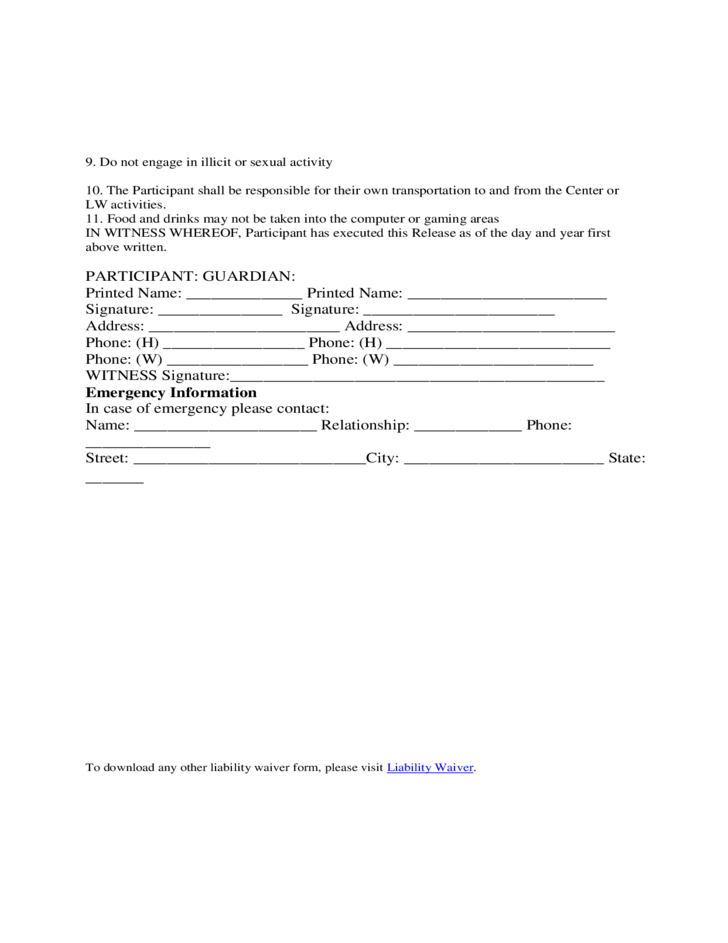 Volunteer waiver of liability form template free download for Release from liability form template