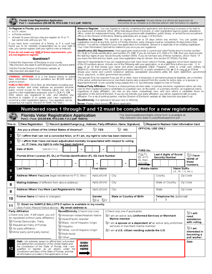 Florida Voter Registration Application Free Download