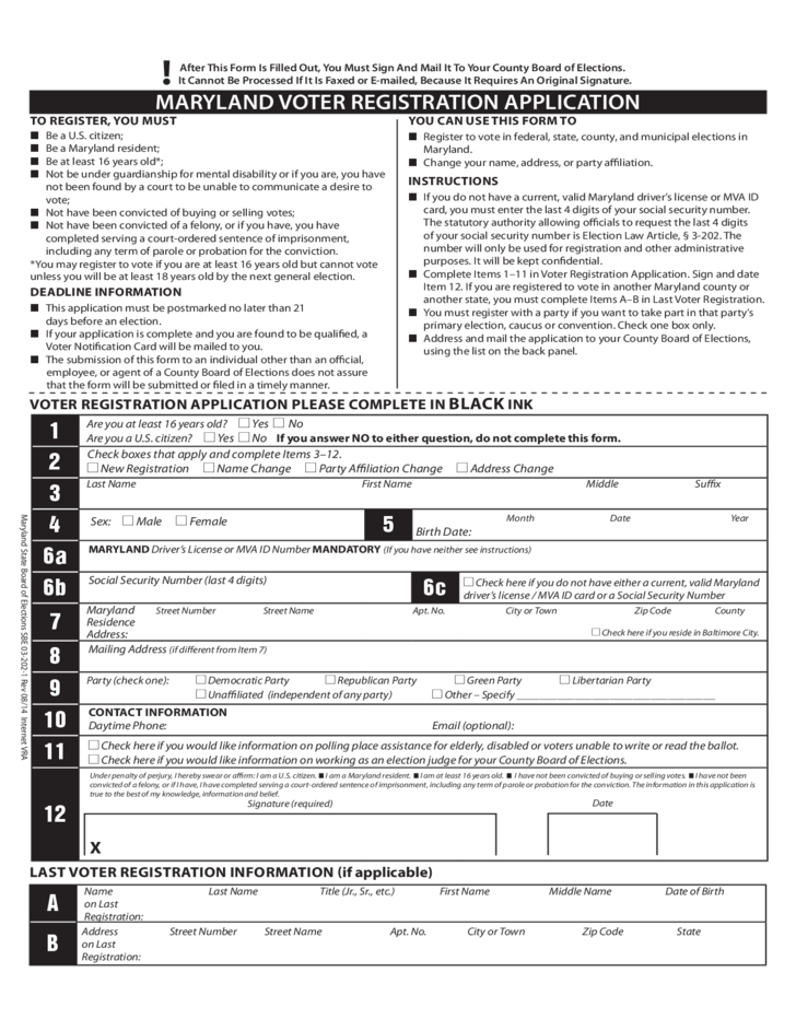 Maryland Voter Registration Application Free Download