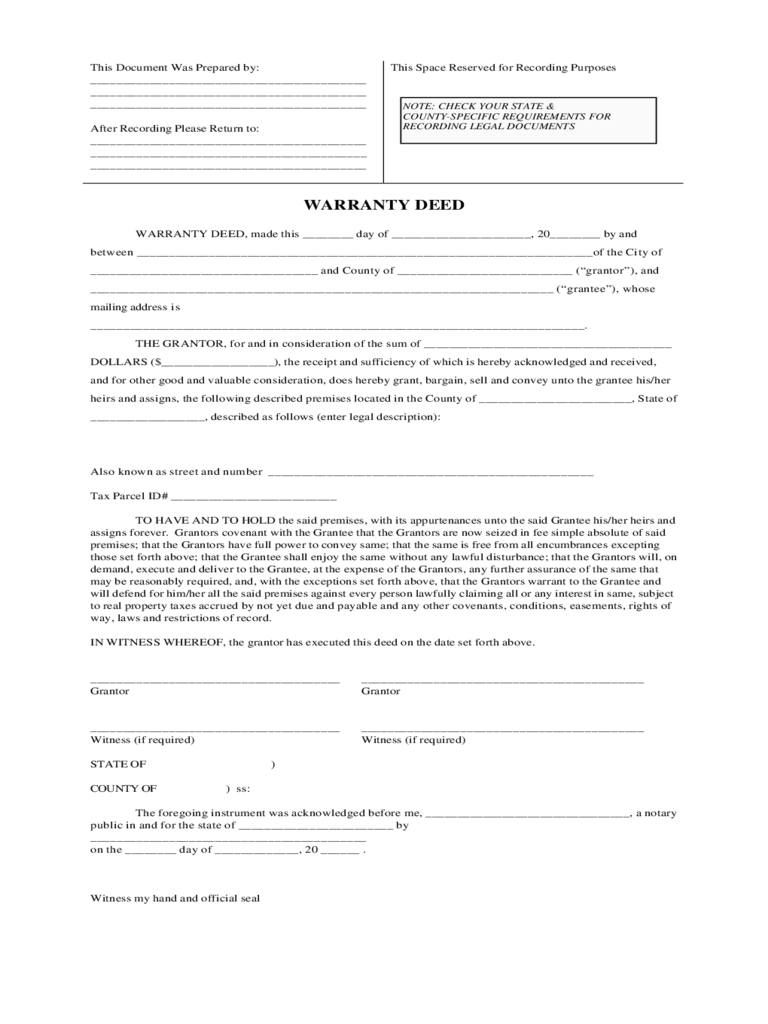 Warranty Deed Form - 56 Free Templates in PDF, Word, Excel Download