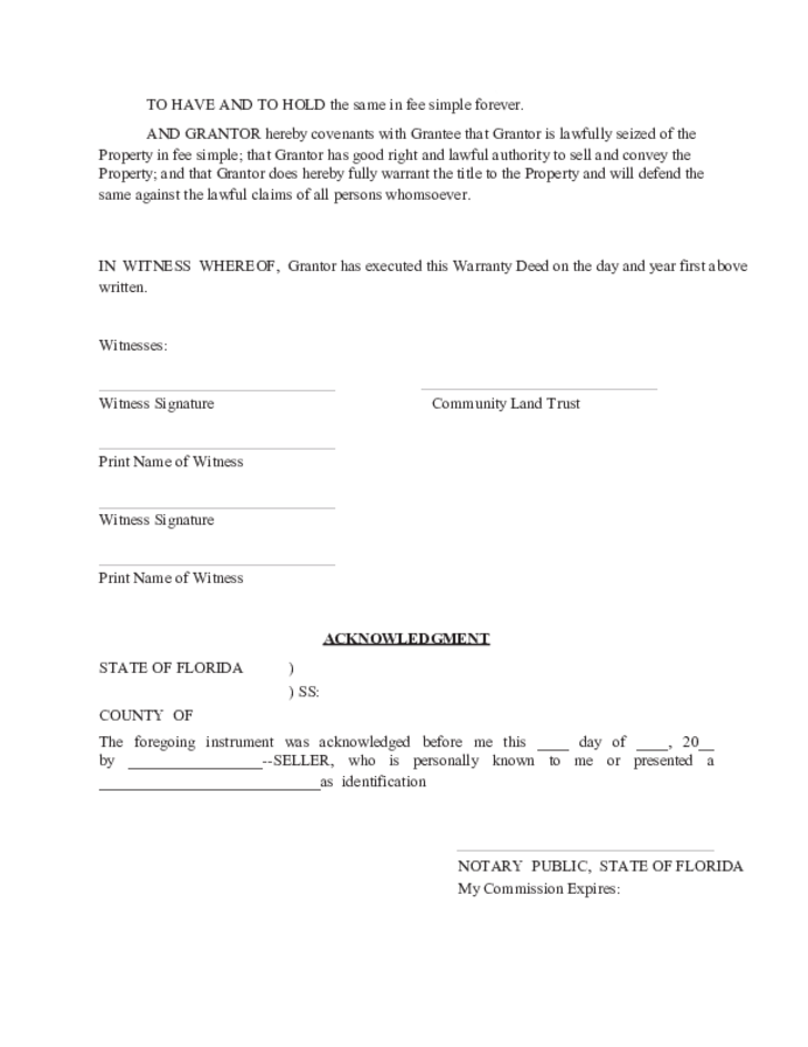 Warranty Deed Template - Florida
