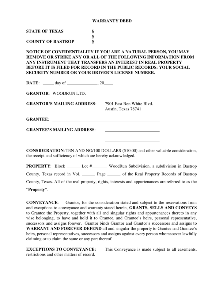 General Warranty Deed Texas Free Download – General Warranty Deed