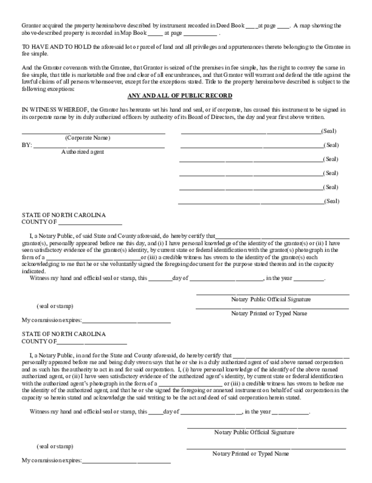 General Warranty Deed Template   North Carolina Free Download