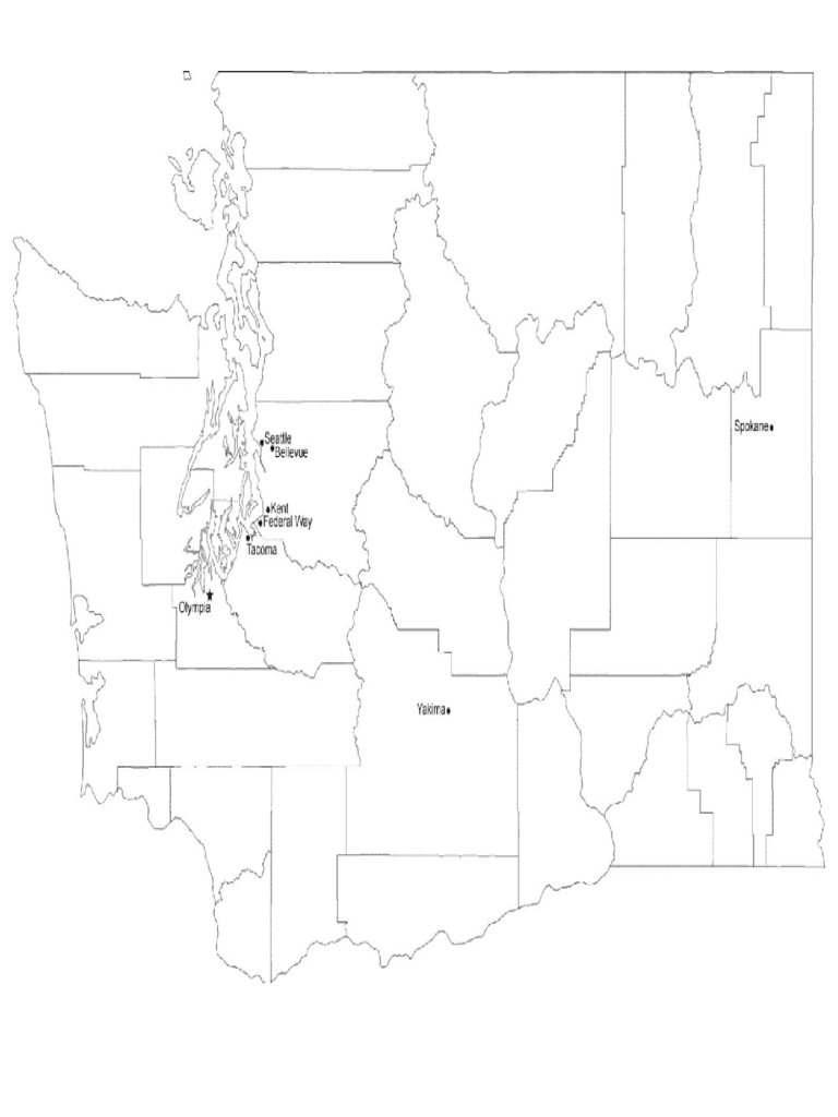 Map of Washington Cities with City Names