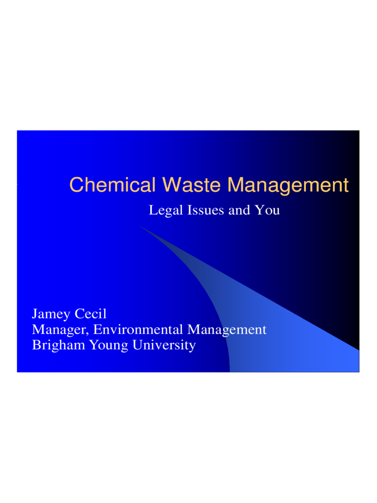 Chemical Waste Management PPT