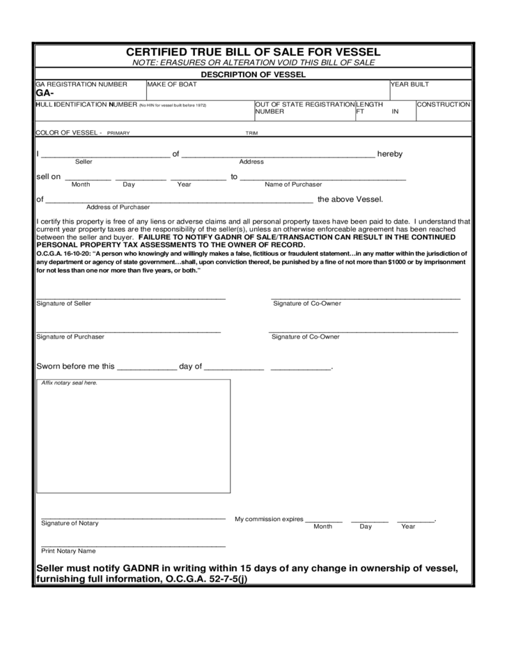 Watercraft bill of sale form west georgia free download for Free bill of sale ga