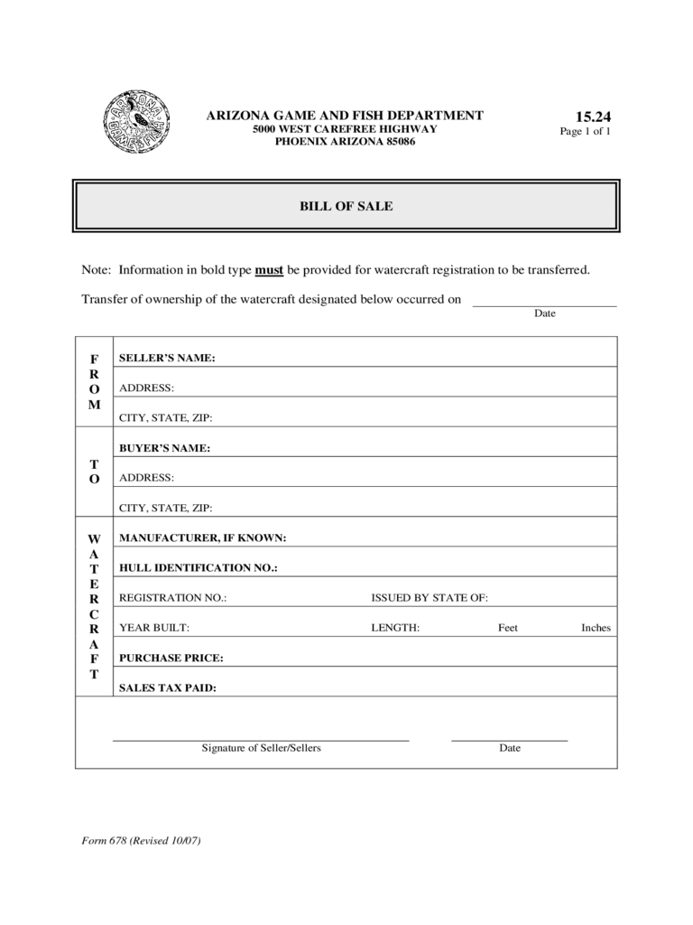 Watercraft Bill of Sale Form - Arizona