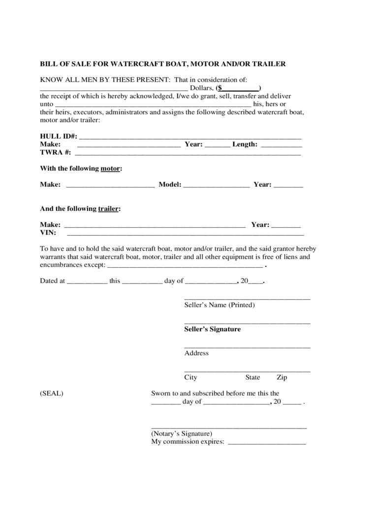 Bill of Sale Form for Watercraft