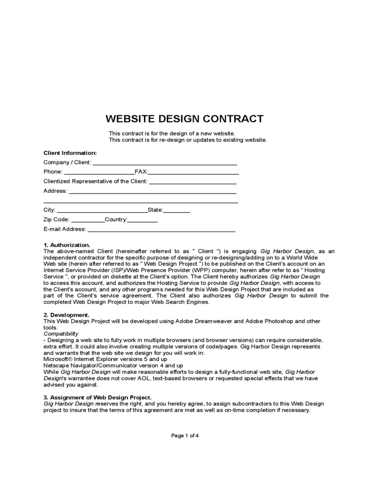 website design contract free download