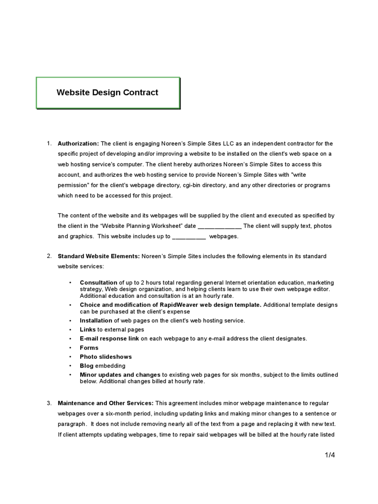 Website Contract Template 2 Free Templates In Pdf Word Excel