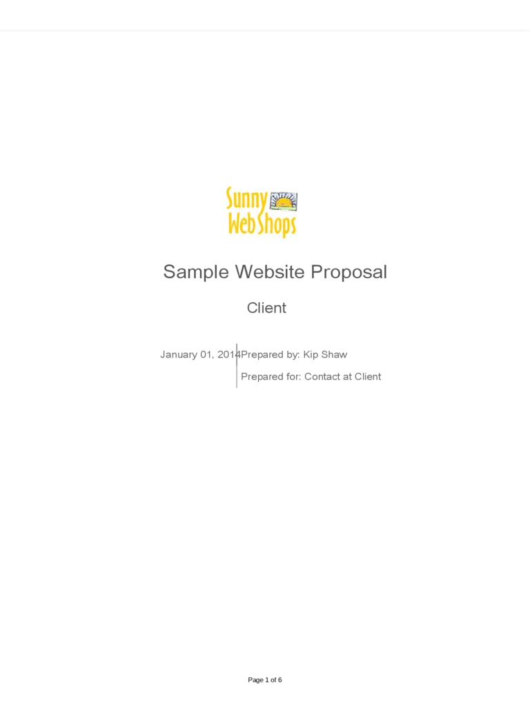 Example of Website Proposal Template