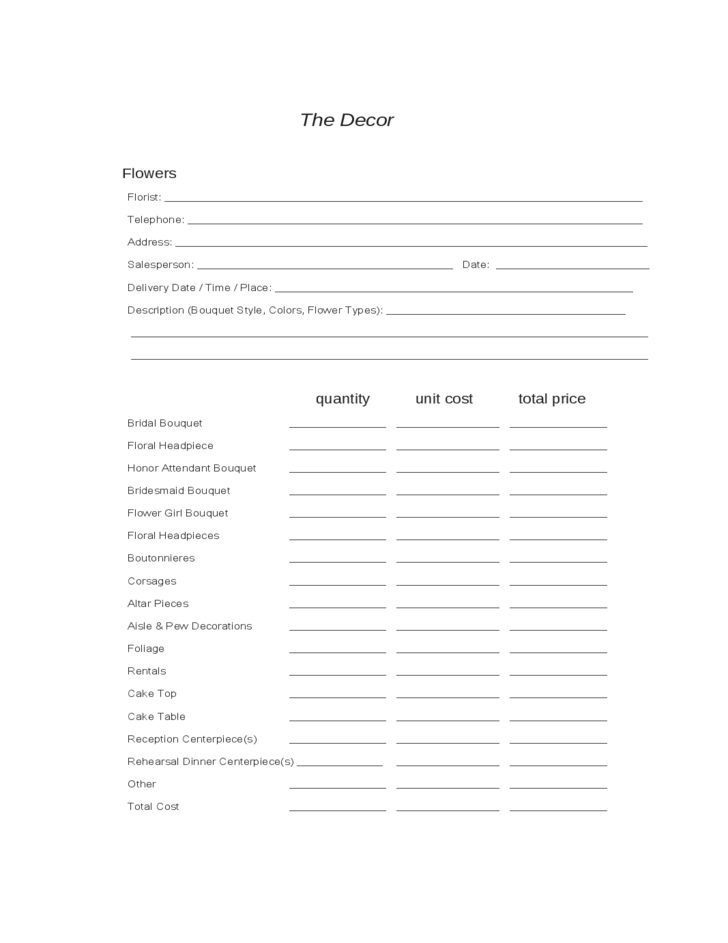 wedding planning worksheets free download