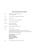 Sample Wedding Reception Itinerary Free Download