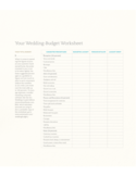 Wedding Budget Worksheet Free Download