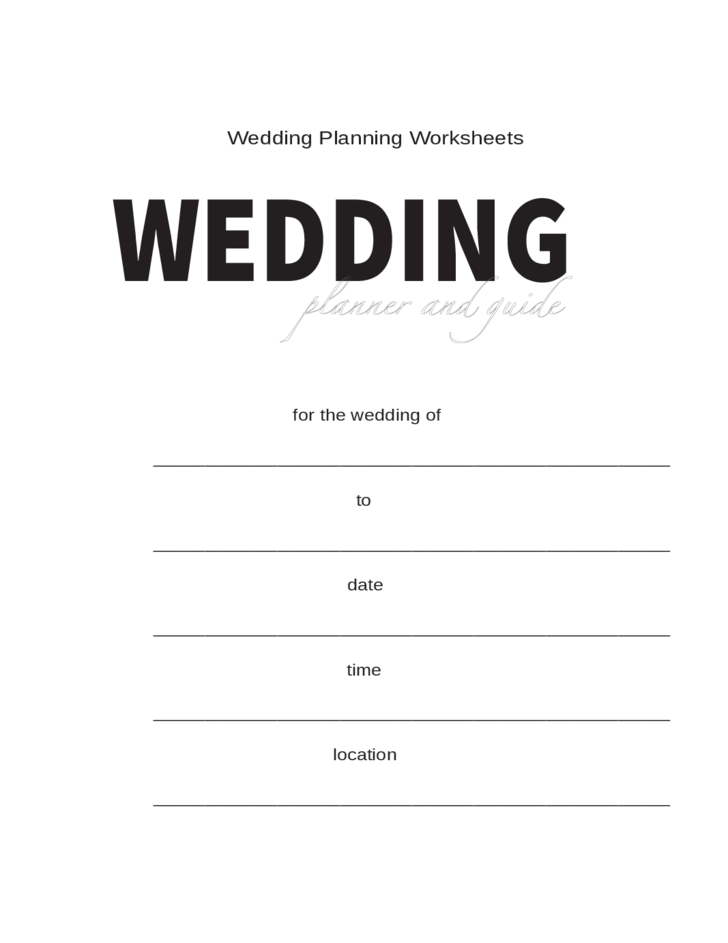 It's just a picture of Inventive Free Printable Wedding Planner Worksheets
