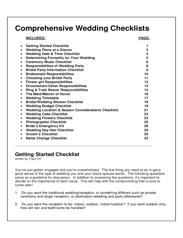comprehensive wedding checklists free download