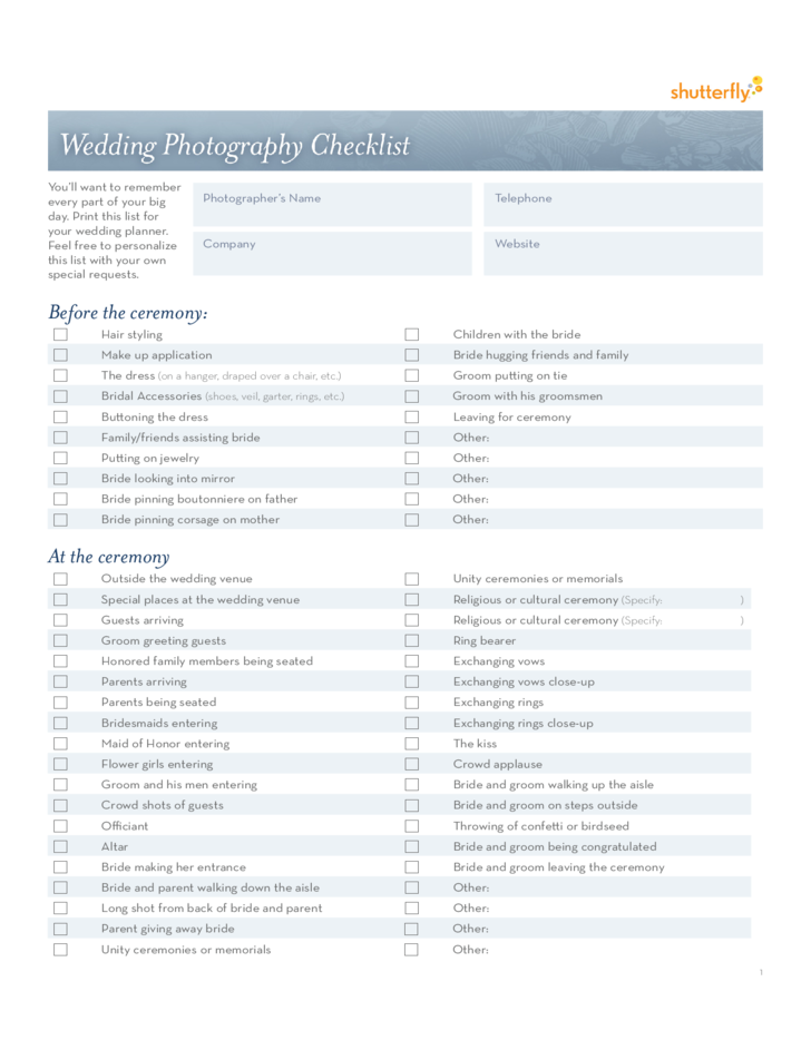 Photography Checklist: Wedding Photography Checklist Template Free Download