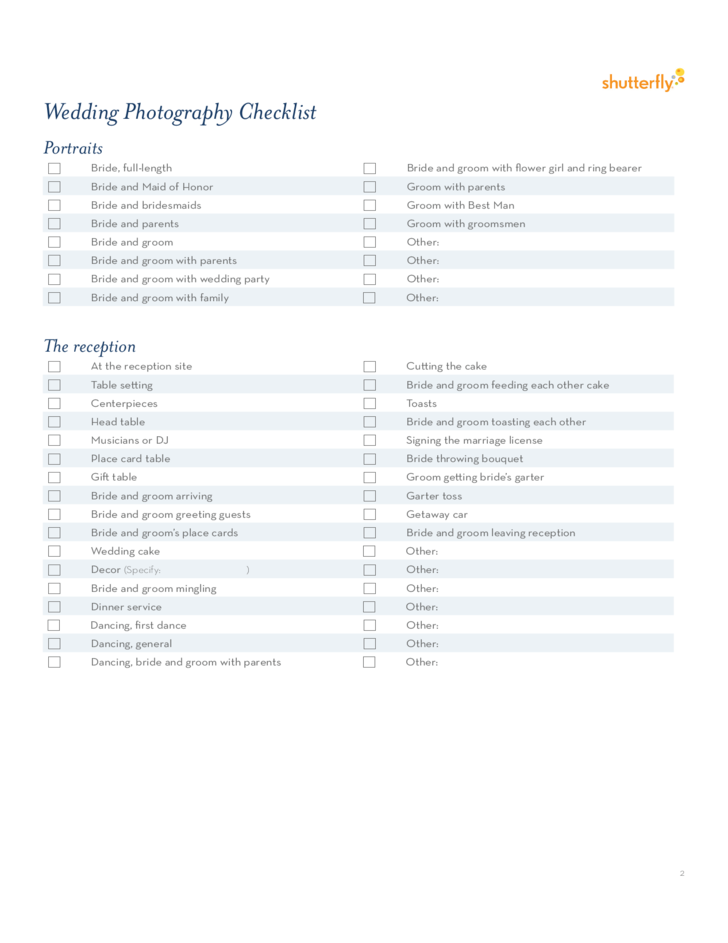 Wedding Photography Checklist Template