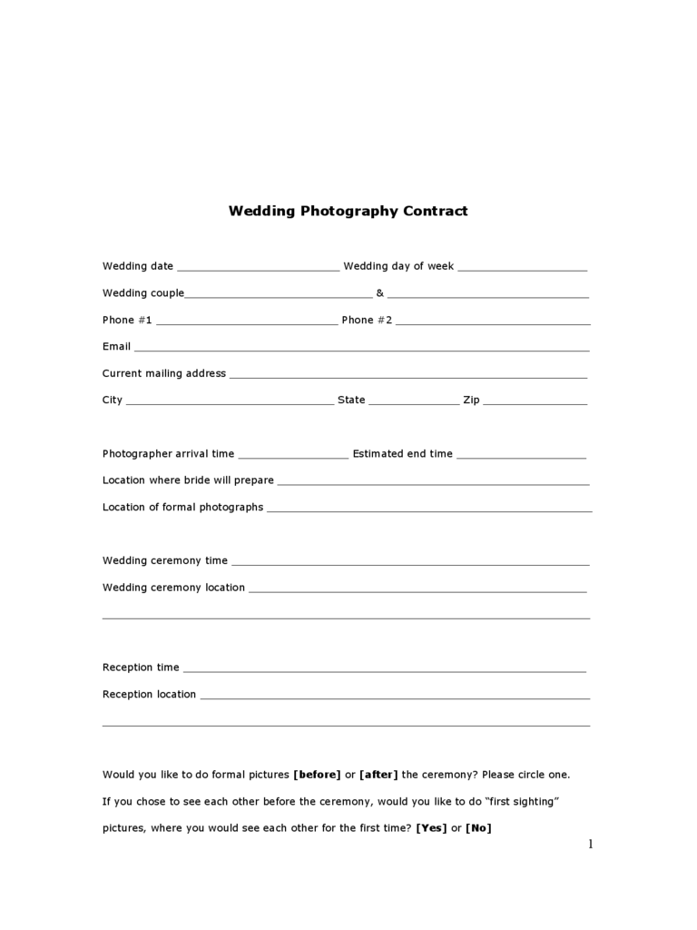 Free Wedding Contract Template