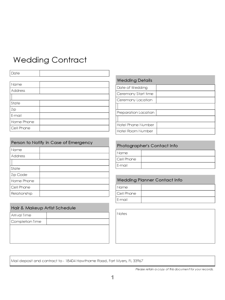 Blank Wedding Contract Template